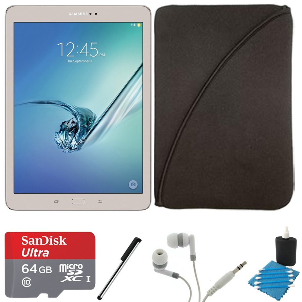 Samsung Galaxy Tab S2 9.7-inch Wi-Fi Tablet (Gold/32GB) SM-T810NZDEXAR 64GB MicroSDXC Card Bundle includes Galaxy Tab S2, 64GB MicroSDXC Memory Card, Stylus Stylus Pen, Protective Tablet Sleeve by Samsung