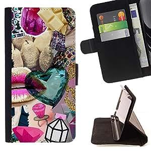 Momo Phone Case / Flip Funda de Cuero Case Cover - La joya del diamante de Bling del oro abstracta - HTC Desire 820