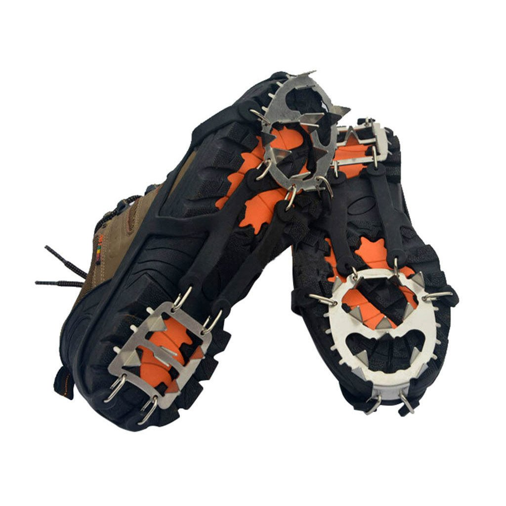 Gear 18 Tooth Crampons Cleats Set Fishing Outdoor Climbing Snow Ice Crampons Catch Snow Claw Antiskid Shoe Spikes(1 pair)