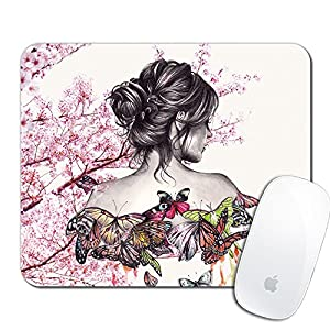 Royal Up Beautiful Girl Custom Mouse Pad Gaming Mat Keyboard Pad Waterproof Material Non-slip Personalized Rectangle Mouse pad (9.4x7.8x0.08Inch)