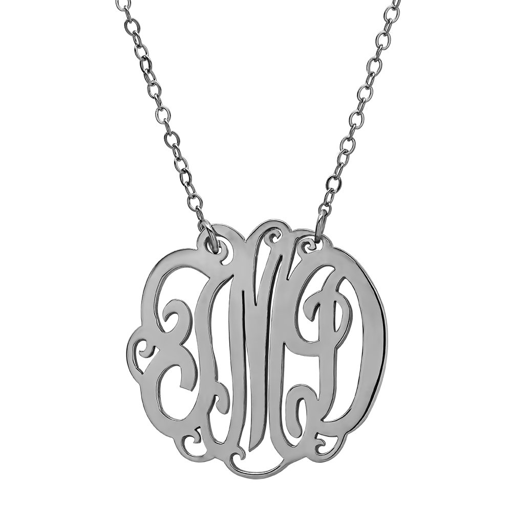 TwoBirch CUSTOMIZEABLE 1.50 Inch Sterling Silver Monogram Necklace in 14 16 18 or 20 Inches 3 Initial Pendant