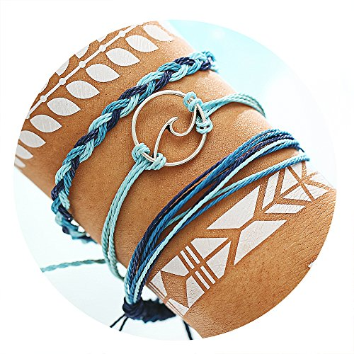 17mile Wave Braided Rope Bracelet Set Handmade Waterproof Wrap Bracelet for Woman Kids