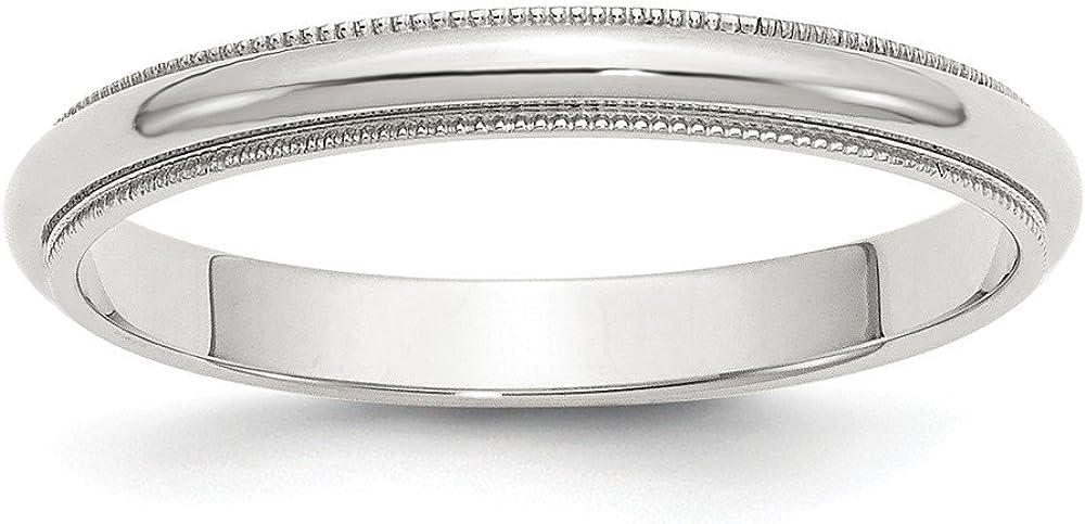 Solid 925 Sterling Silver 3mm Half Round Milgrain Wedding Band