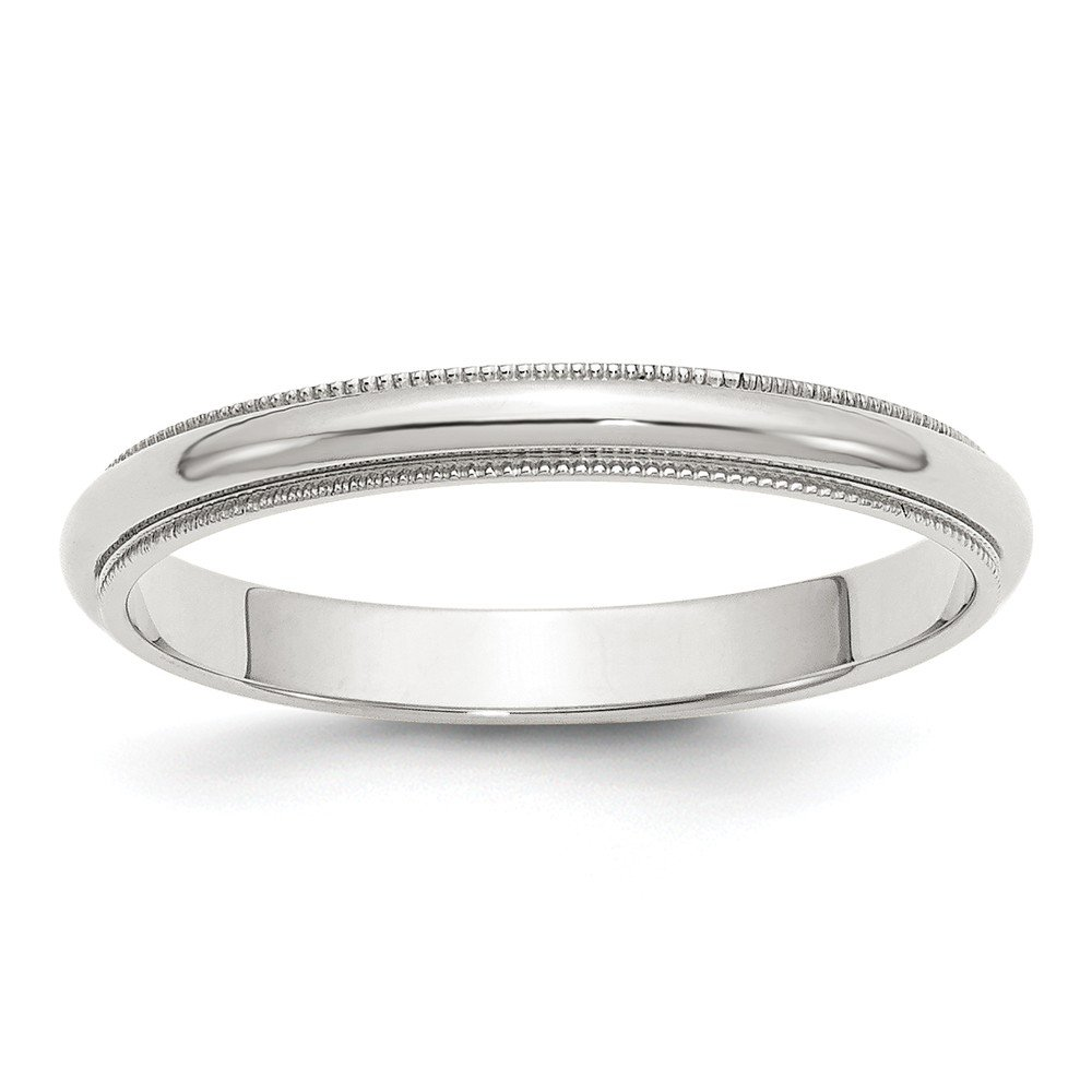 Solid 925 Sterling Silver 3mm Half Round Milgrain Size 7 Wedding Band by Sonia Jewels