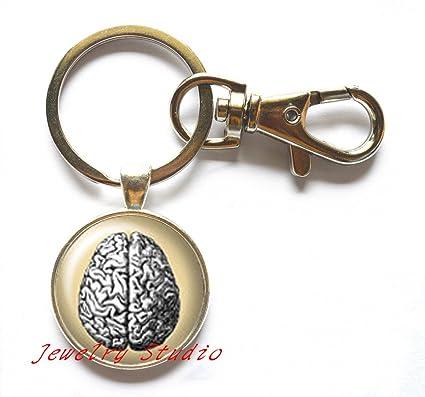 Retro cerebro pensamiento llavero, Idea, llavero, diseño de ...
