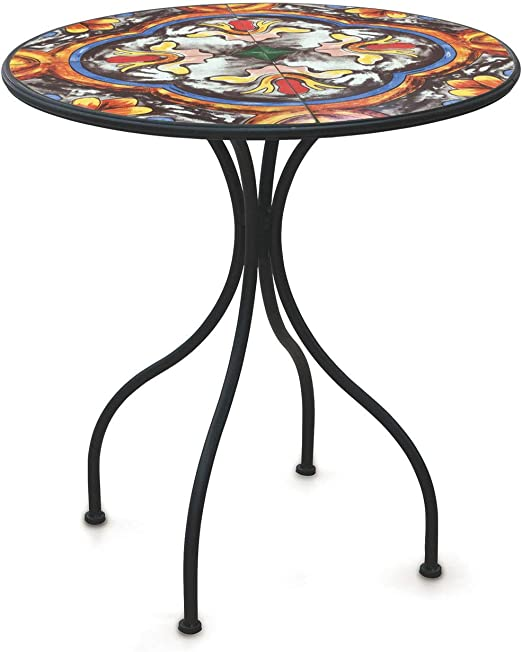 soriani Table de Jardin Ronde Ø70 cm en Fer avec mosaïque ...