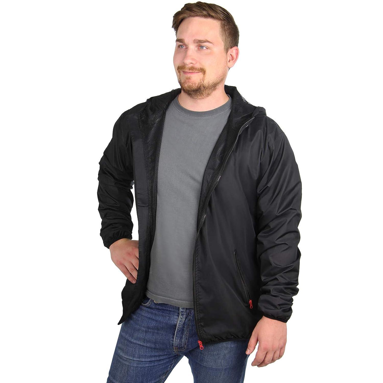 Transpirable Talla S M L XL Ligero ALPIDEX Chaqueta de Lluvia para Hombre con Capucha Impermeable Chaqueta de Entretiempo Cortavientos