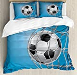 Soccer Queen Size Duvet Cover Set by Ambesonne, Goal Football in Net Entertainment Playing for Winning Active Lifestyle, Decorative 3 Piece Bedding Set with 2 Pillow Shams, Blue Pale Grey Black