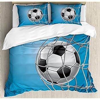 Sports Decor Duvet Cover Set Queen Size Illustration Of Soccer Ball Championship Tournament Stadium Exercise Decorative 4 Piece Home & Garden
