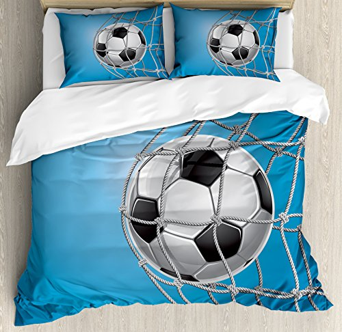 Ambesonne Soccer Duvet Cover Set King Size, Goal Football in Net Entertainment Playing for Winning Active Lifestyle, Decorative 3 Piece Bedding Set with 2 Pillow Shams, Blue Pale Grey Black by Ambesonne