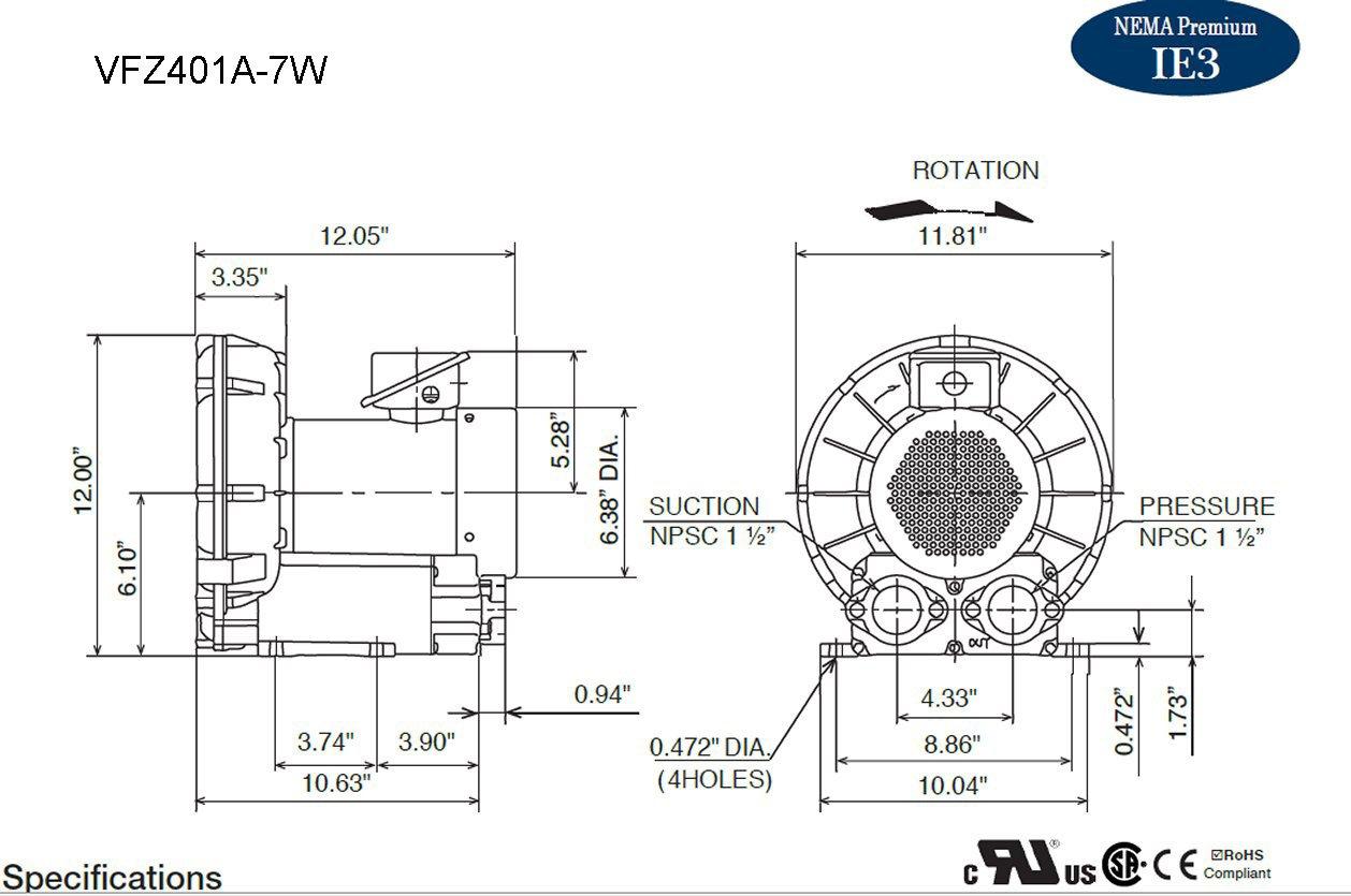 VFZ401A-7W Fuji Regenerative Blower 1.4 hp, 208-230/460 Volts by Fuji