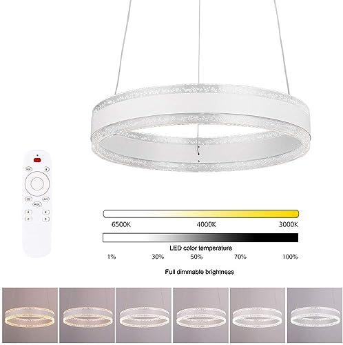ELINKUME LED Pendant Light, Acrylic Metal Chandelier Ceiling Light, Modern Hanging LED Dining Light for Dining Room Living Room Bedroom