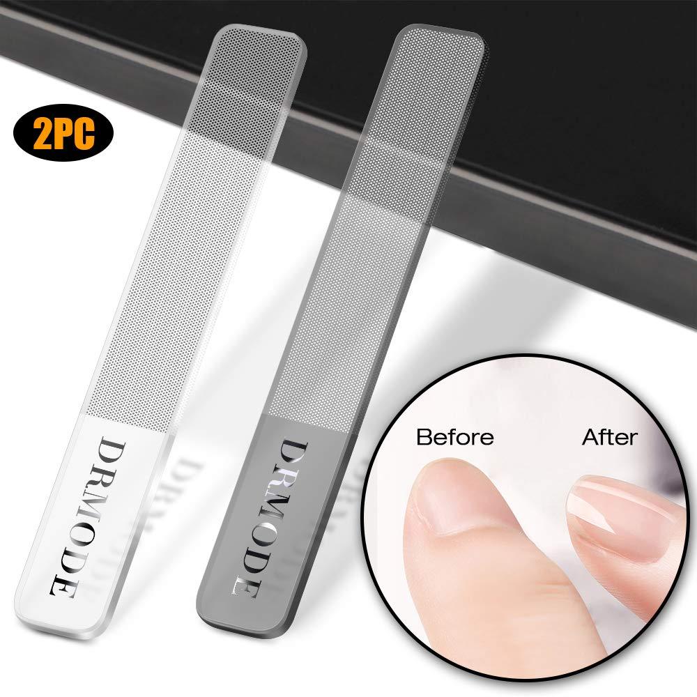 Glass Nail Shiner - DRMODE 2PC Upgrade Nail Buffers Nano Glass Nail Files Polisher Professional Crystal Manicure Tools Kit for Natural Nails