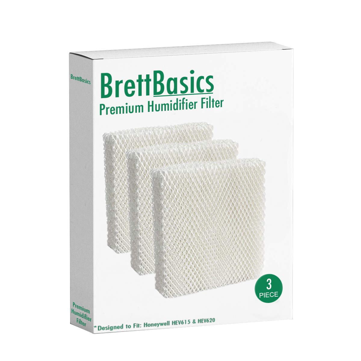 BrettBasics - Humidifier Wicking Filter T Compatible with Honeywell HFT600T, HFT600PDQ, Made for HEV615 and HEV620 Models (3-Pack) by BrettBasics