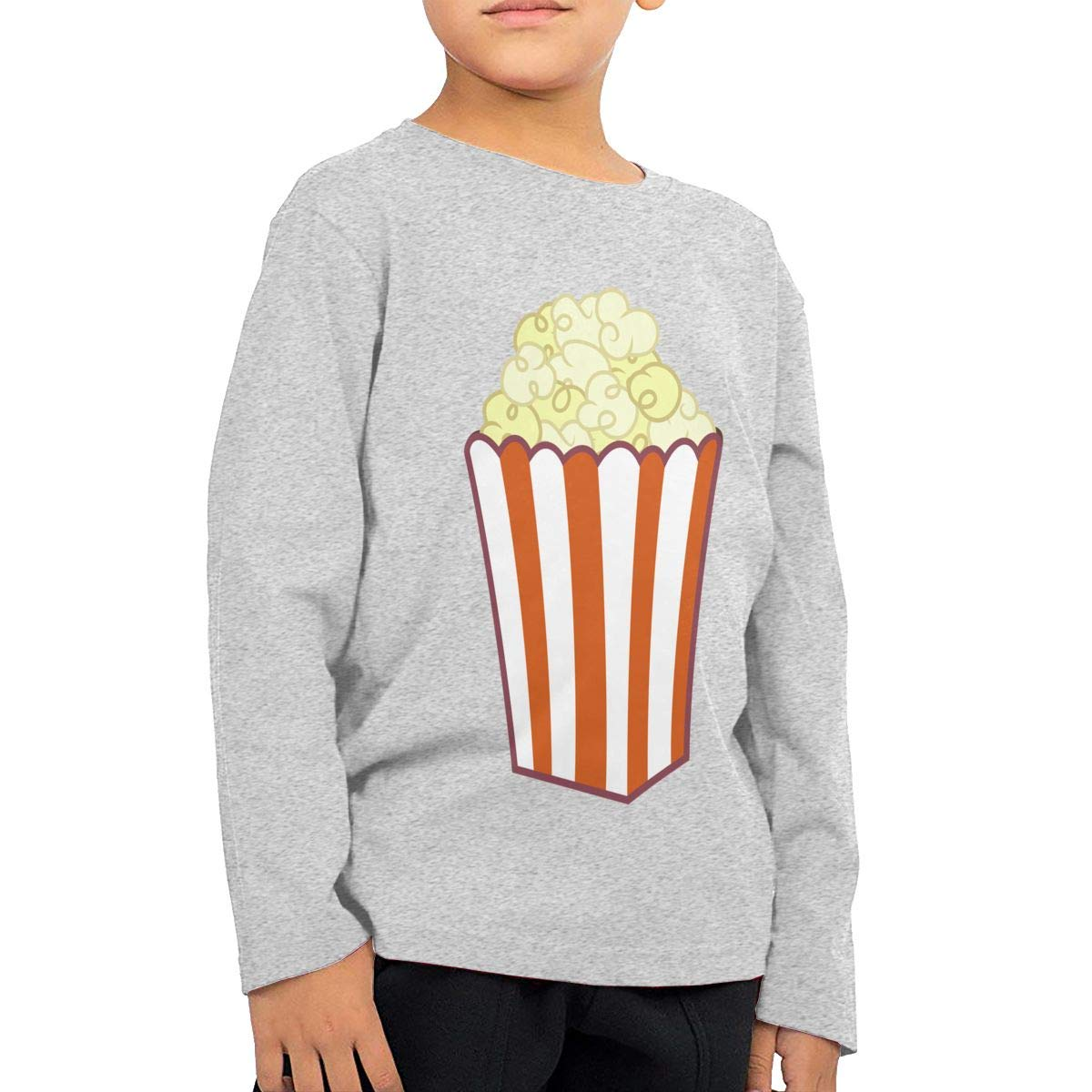 Climbing Clothes Set Popcorn Art Childrens Gray Cotton Long Sleeve Round Neck T-Shirt for Boy Or Girl
