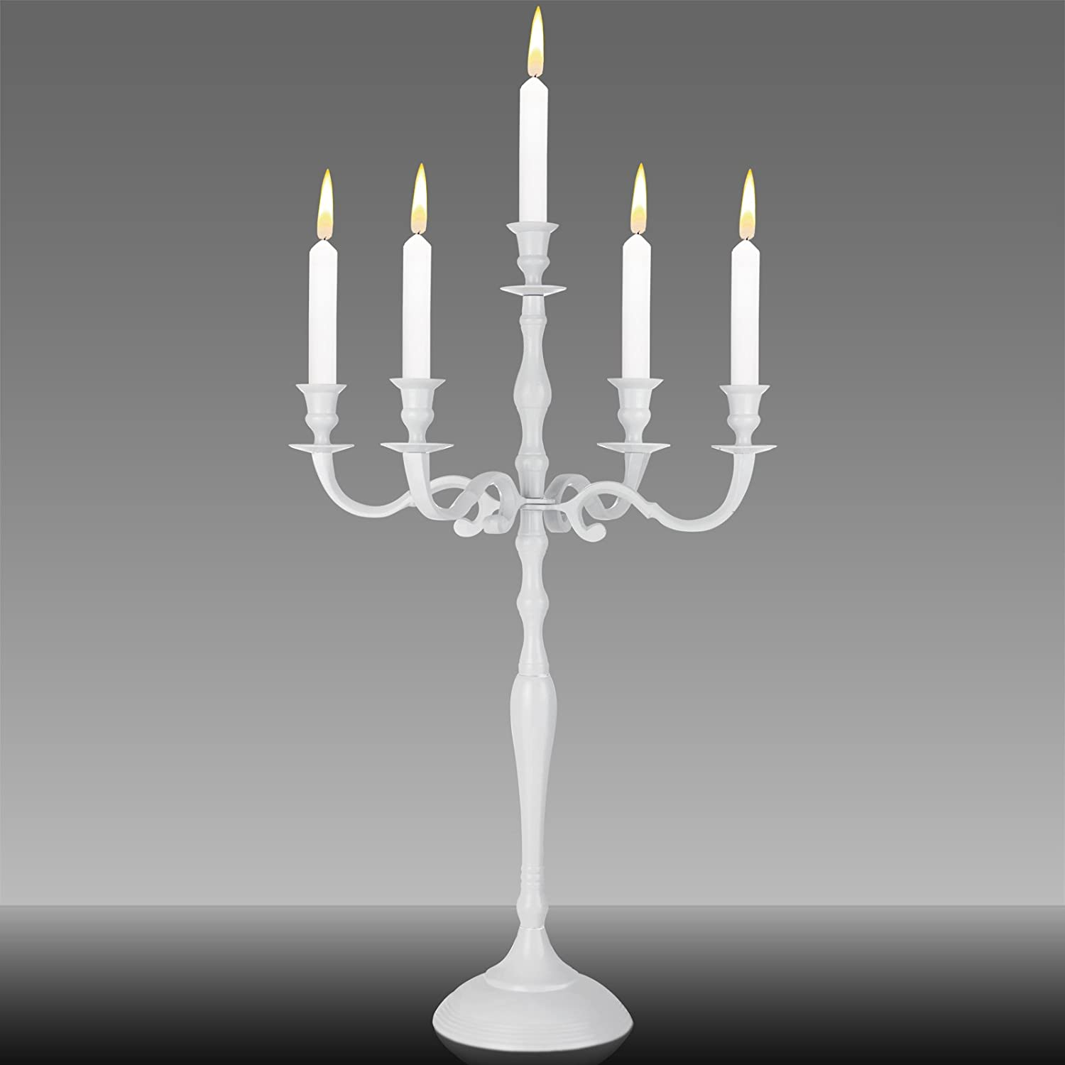 Deuba Metal Candelabra, Baroque Style Candlestick, 3 or 5-armed Candle Stand, Candle Holder, Weddings & Events | Convertible | 40cm 60cm or 78cm | Silver Gold or White DEUBA GmbH & Co. KG