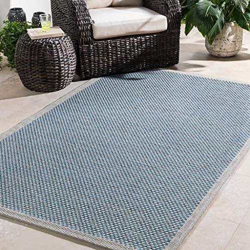 Ojai Outdoor Solid 2' x 3' Rectangle Indoor/Outdoor 100% Polypropylene Light Gray/Sky Blue/Black Area Rug