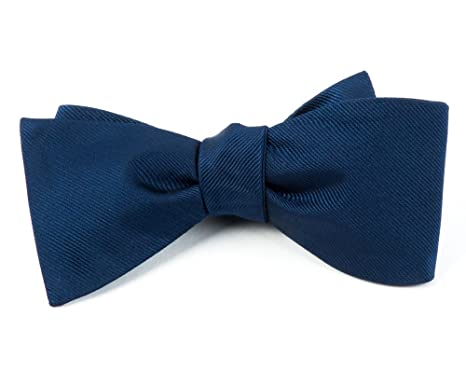 4eed00798179 100% Woven Silk Navy Blue GrosGrain Solid Self-Tie Bow Tie at Amazon ...