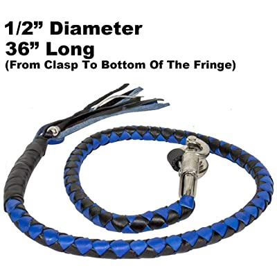 "Blue & Black Combination 36"" Long 1/2"" Diameter Naked Soft Genuine Leather Motorcycle Get Back Whip: Home Improvement"