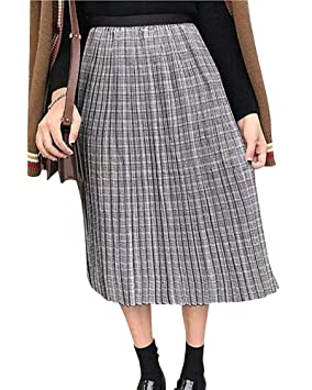 Yonglan Falda Midi para Mujer Cintura Elástica Cintura Alta Corte ...