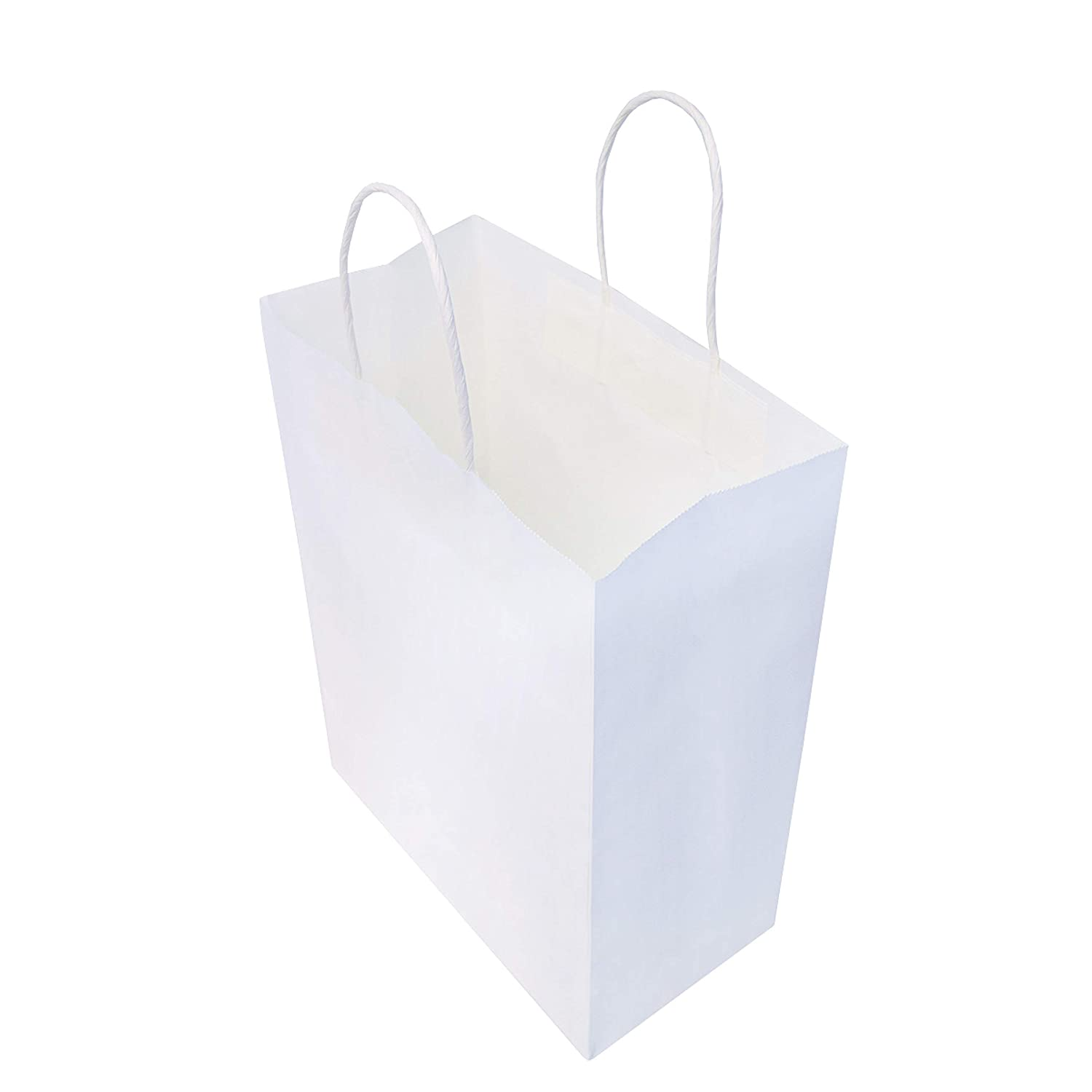 "8x4x10"" - 50 Pcs - White Kraft Paper Bags with Handles, Birthday Parties, Restaurant takeouts, Shopping, Merchandise, Party, Retail, Gift Bags"