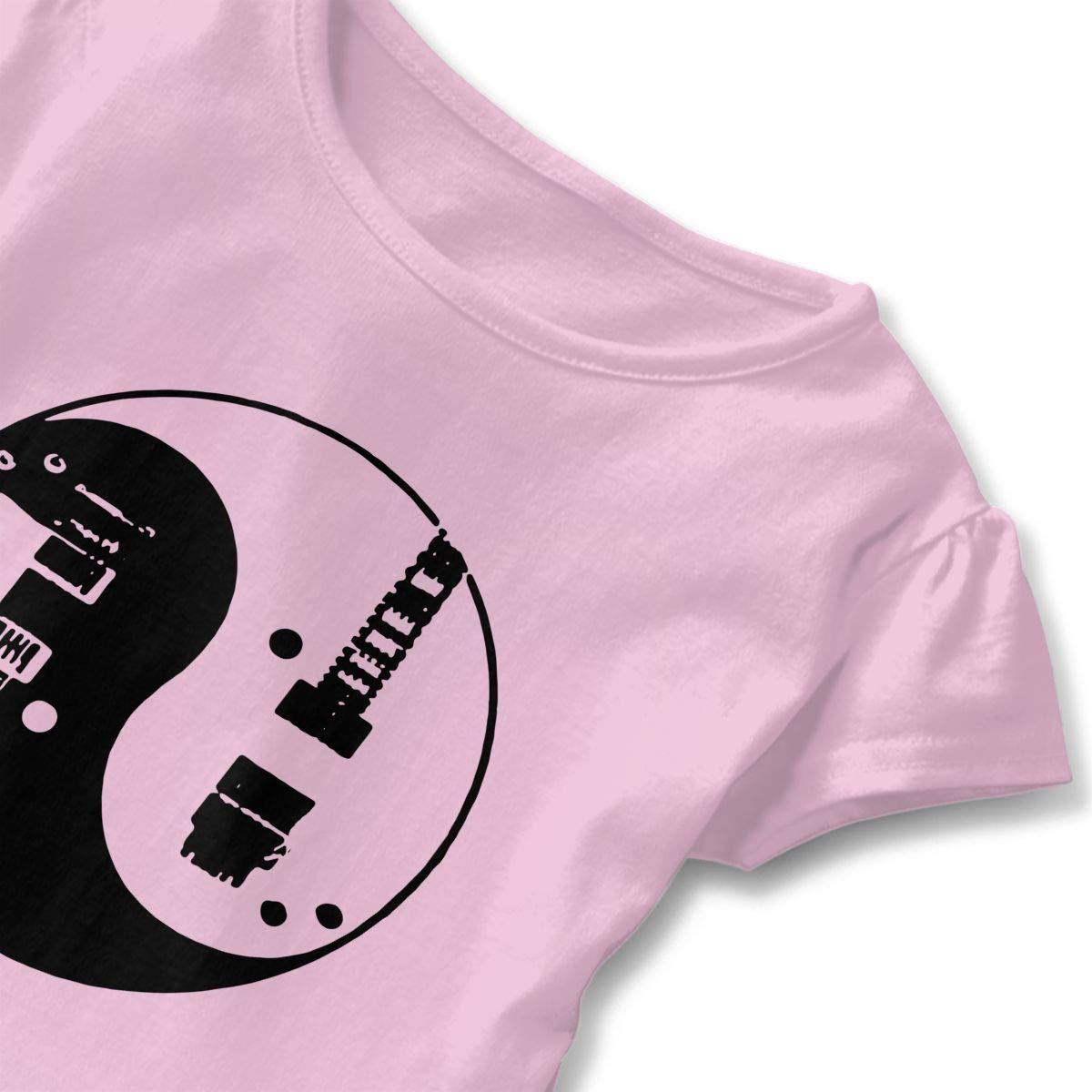 Guitars Yin Yang Kids Girls Short Sleeve Ruffles Shirt Tee Jersey for 2-6 Toddlers
