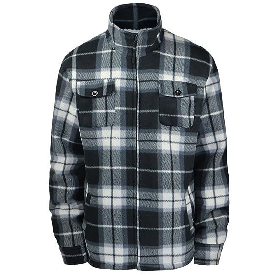 Winter Heavy Warm Sherpa Lined Fleece Plaid flannel jacket Men ...