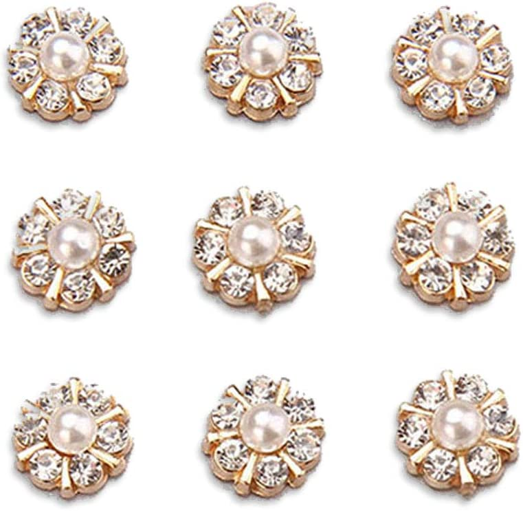 50 pcs Rhinestone Pearl Buttons Accessory Decoration Set for DIY Scrapbooking Embellishments Wedding Bouquet Flower Centre Home Decor 12mm (Gold)