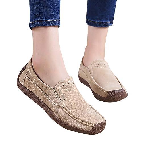 iHAZA- Zapatos de tacón para Mujer para Mujer Botines Planos con Cordones Slip On Flock Roman Casual: Amazon.es: Zapatos y complementos