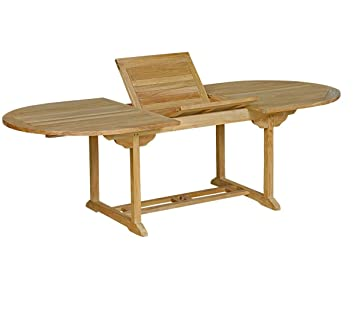 Table de jardin en teck brut : table ovale à rallonge: Amazon.fr: Jardin