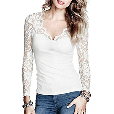 T-Shirt Femme,Vovotrade Chemise Tops à Manches Longues Dentelle Casual  Blouse Elegant Tuinique 34c9f623742b