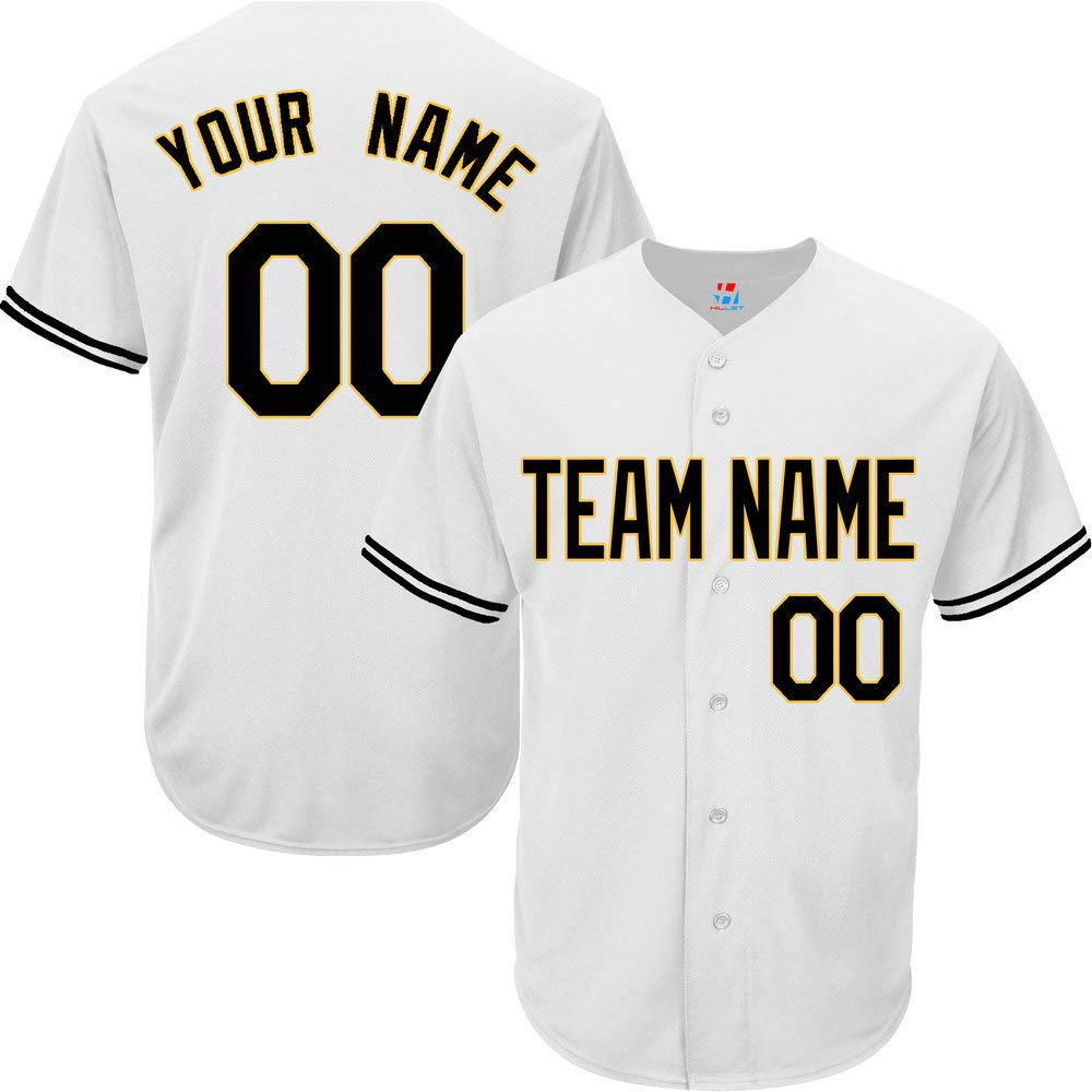 Pullonsy White Customized Baseball Jersey for Women Full Button Stitched Name,Black-Yellow Size S by Pullonsy