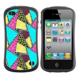 Suave TPU GEL Carcasa Funda Silicona Blando Estuche Caso de protección (para) Apple Iphone 4 / 4S / CECELL Phone case / / Teal Yellow Animal Pattern /