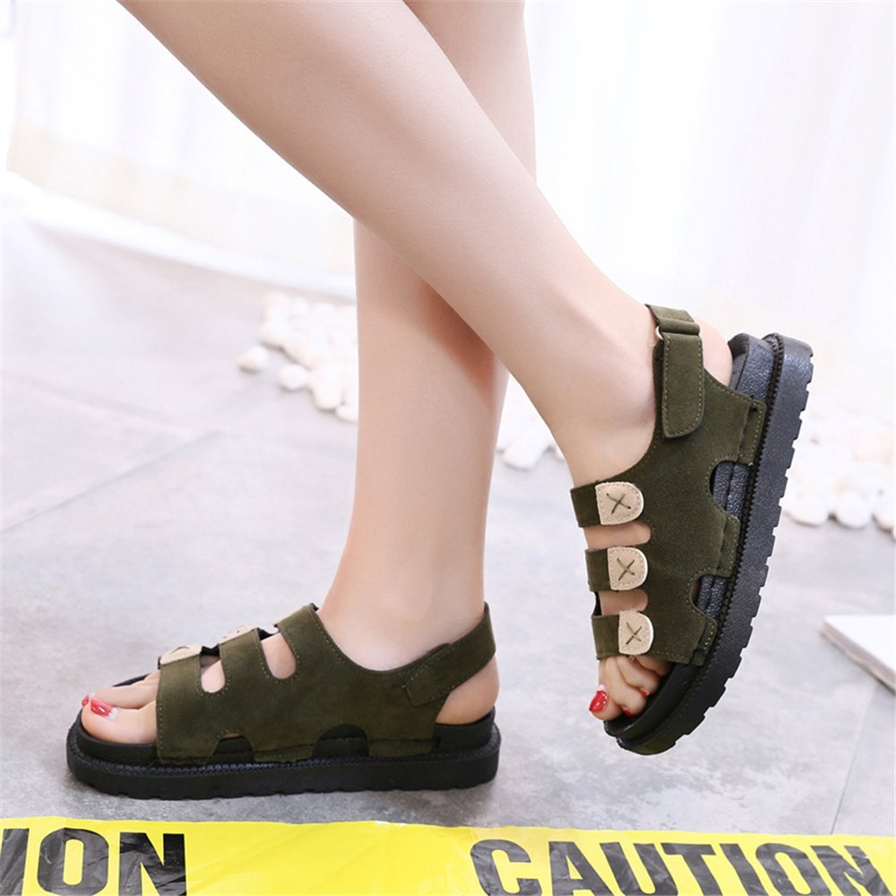 PRETTYHOMEL Women Sandals Flat Sandals Wedges Heel Summer Women Open Toe Platform Sandalias Ladies Sandals B07CYNX7TV 35/4.5 B(M) US Women Green