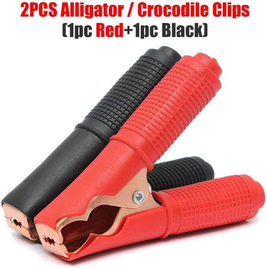 Powertool Pince crocodile Pince crocodile testeur de tension grande pince crocodile rouge 2 pi/èces noir pour voiture projets /électriques