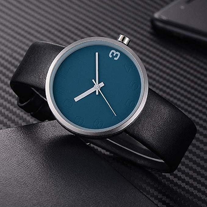 Amazon.com: Windoson Mens Wrist Watch Big Face Simple Style Leather Analog Quartz Business Watches (C): Electronics