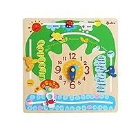 Per legno calendario sveglia apprendimento giocattolo prima educazione forniture Illuminismo giocattoli per bambini