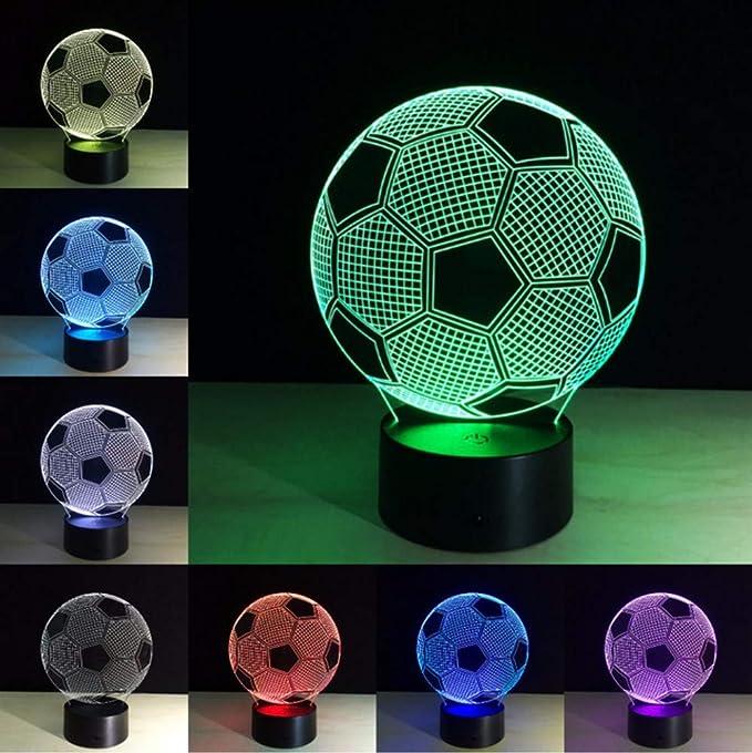 Fyyanm Balón De Fútbol Lampe Optique Led Ilusión 3D 7 Couleurs ...