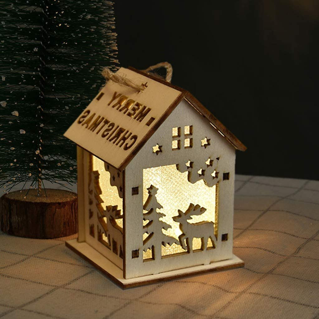 Bells-1PC Wooden S CUTUDU Christmas New Wooden Decoration Cabin Light With Lights Pendant Christmas Tree Ornaments Diy Small House