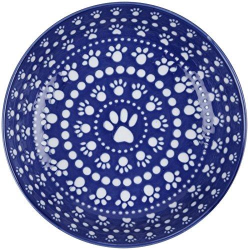 - ORE Pet Speckle & Spot Ceramic Shallow Bowl - Bandana Blue