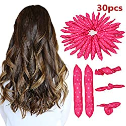 30pcs Flexible Foam Sponge Hair Rollers Foam Hair Curler Soft Pillow Hair Rollers Sponge Hair Curlers Sleep Styler (Pink)