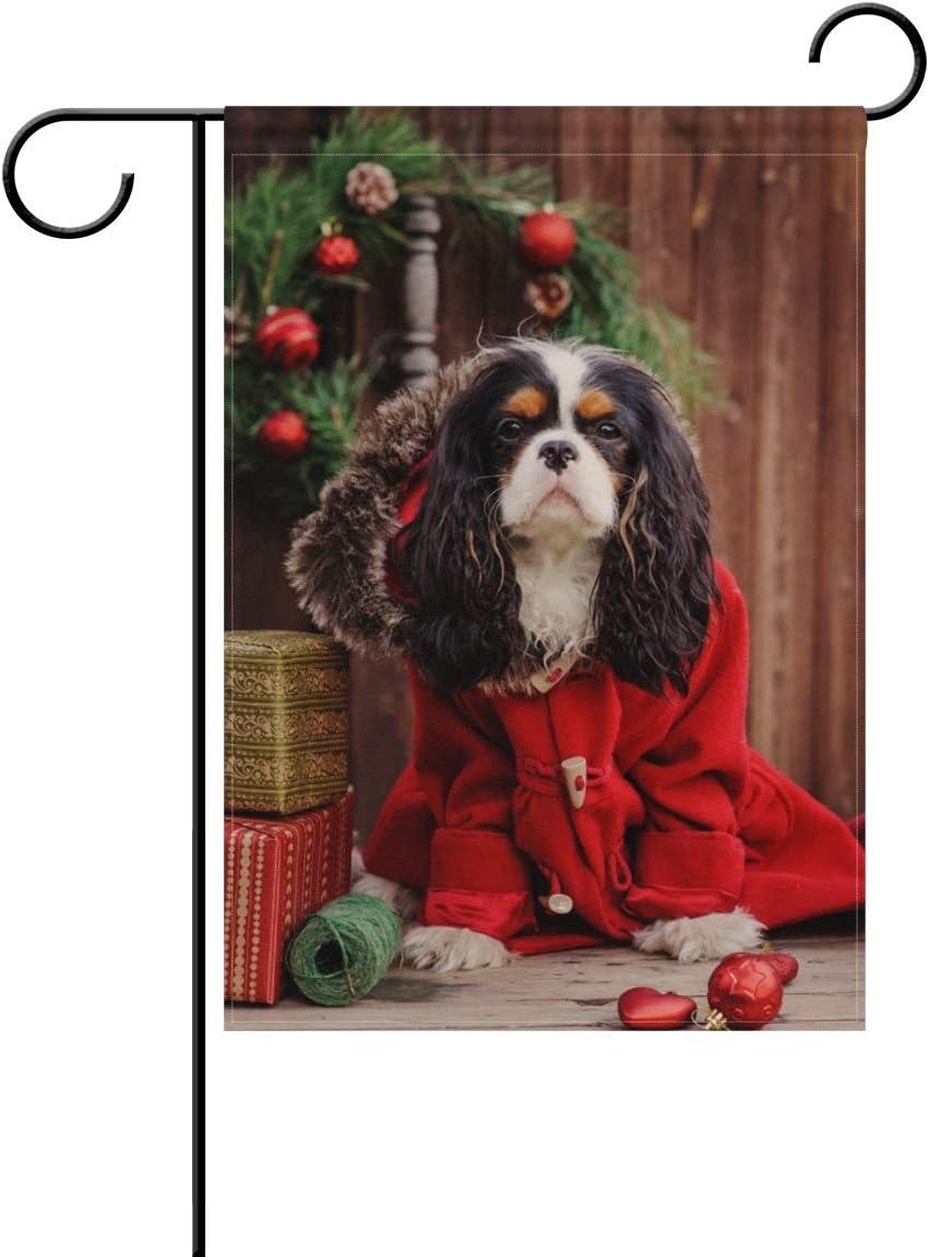 ALAZA Christmas Cavalier King Charles Spaniel Dog Decorative Double Sided Garden Flag 12 x 18 inch
