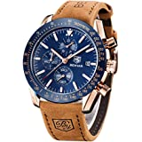BENYAR Men's Watch Chronograph Quartz Watch Waterproof Sports Fashion Belt Wristwatches Business Watches for Men