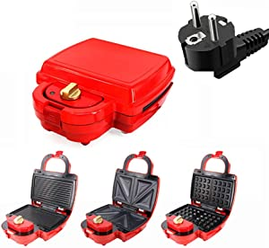 SRHNXW 3 in 1 Waffle Maker,Sandwich Toaster,Panini Grill,Non-Stick Coating, Temperature Control,with Cool Touch Handle,750W /Red,EU