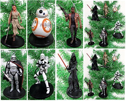 Star Wars FORCE AWAKENS 6 Piece Christmas Tree Ornament Set Featuring Kylo Ren, BB-8, Captain Phasma, Finn, Rey and Flametrooper