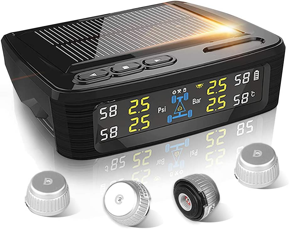 Lanceasy Tire Pressure Monitoring System Sistema De Control De Presi/ón LCD Tpms Wireless Solar Neum/áticos con 4 Sensor Externo