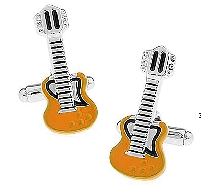 Ashton and Finch Gemelos de Guitarra electrica Naranja y Blanco. Novedad, Música, Tema, Joyería: Amazon.es: Joyería