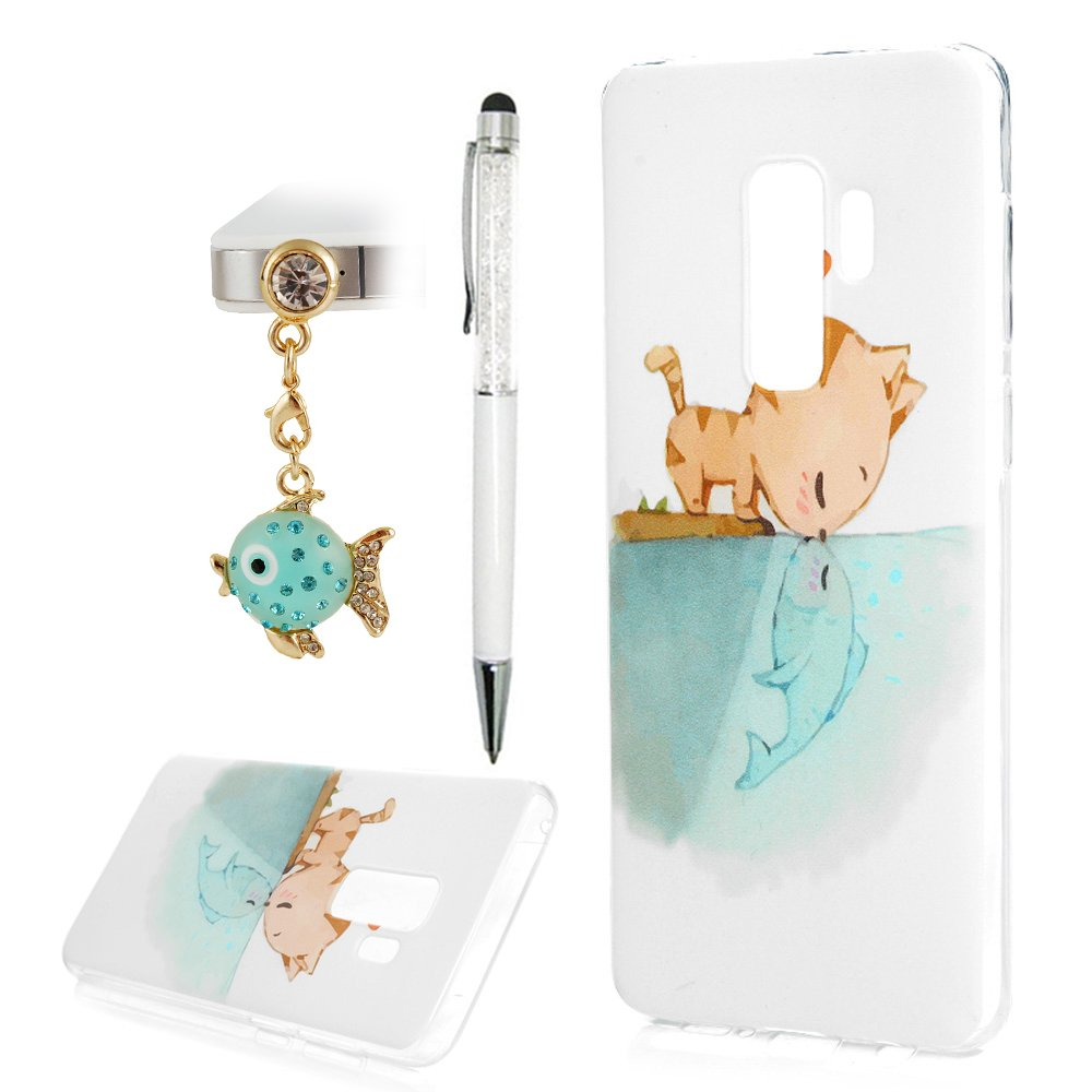 Galaxy S9 Plus Case, Printed Cat & Fish Love Cover Anti-Scratch Shockproof Bumper Ultra Slim Fit Soft TPU Rubber Protective Skin Shell Protector with Stylus Pen Dust Plug for Samsung Galaxy S9 Plus