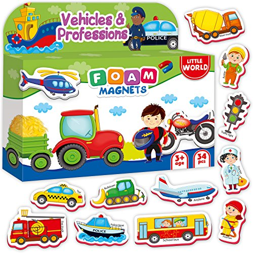 Refrigerator Magnets for Toddlers Kids VEHICLES & PROFESSIONS 34 PCS - Baby Magnets - Foam Magnets - Fridge Magnets for kids - Kids Fridge Magnets - Toddler Magnets for Refrigerator - Kids Magnets