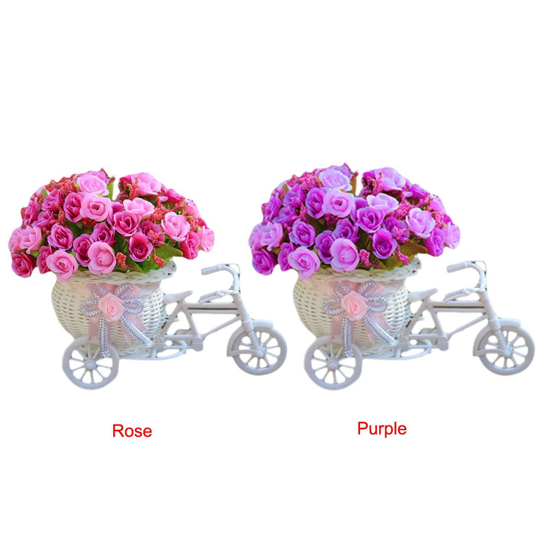 Artificial Decorations Home Furnishing Decorative Floats Bicycle Basket Weaving Simulation Set Diamond Artificial Flowers With Vase Clients First Festive & Party Supplies